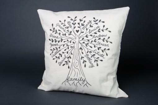 Custom family tree cushion cover